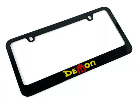 Dodge Demon License Plate Frame - Black with Yellow & Red Script - 1