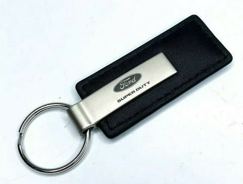 Ford Super Duty Power Stroke Diesel Emblem Black Leather Key Chain - Licensed - Front