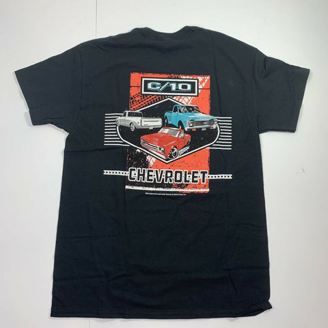 Chevrolet C10 T-Shirt - Black w/ Multiple Generations Pickup Trucks (Licensed) - 2