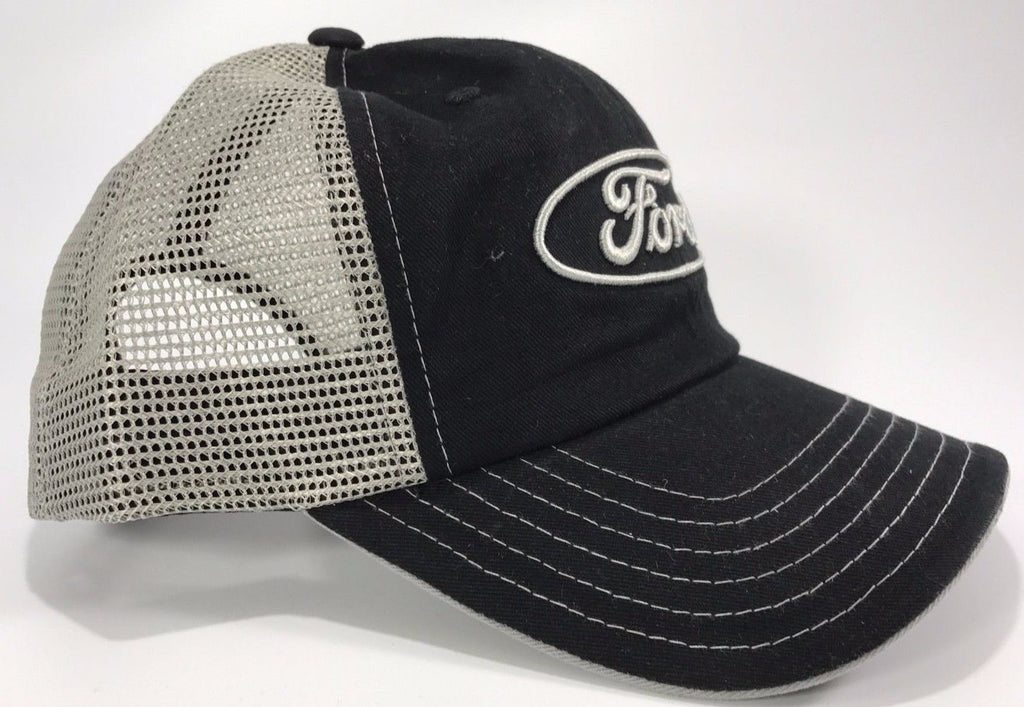 Ford Emblem Hat - Black Front with Grey Mesh Backing (Side)
