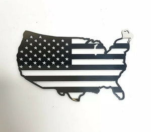 American Flag United States Map Emblem - Polished Stainless Steel-Live Fast Supply Company