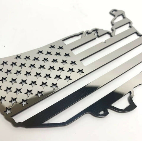 Image of American Flag United States Map Emblem - Polished Stainless Steel-Live Fast Supply Company
