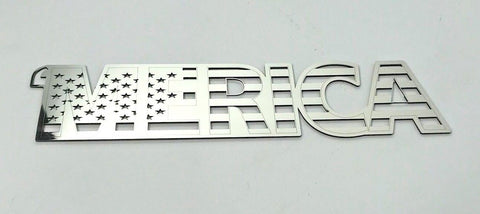 Image of MERICA Emblem - Polished Stainless Steel American Flag Design - Front