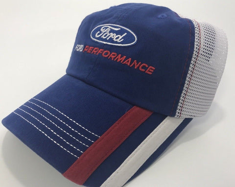Image of Ford Performance Hat - Blue Bill with White Mesh Backing (Front)