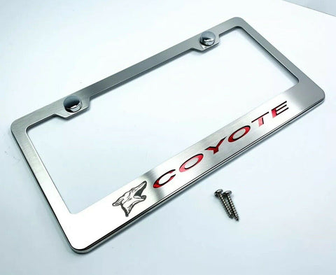 Ford Mustang 5.0 Coyote License Plate Frame w/ Red Carbon Fiber - Premium