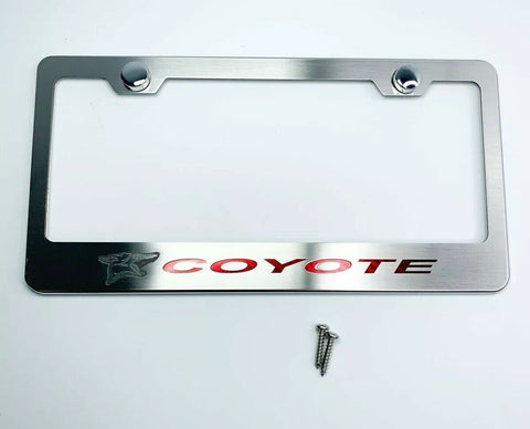 Image of Ford Mustang 5.0 Coyote License Plate Frame w/ Red Carbon Fiber - Premium-Live Fast Supply Company