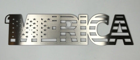 MERICA Emblem - Brushed Stainless Steel American Flag Design - Front