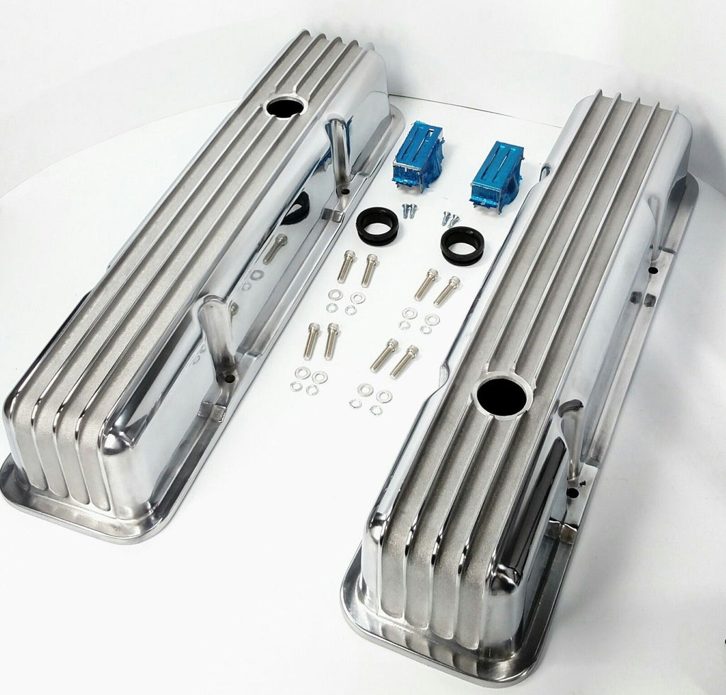Tall Finned Aluminum Valve Covers for Small Block Chevy 350 - Perimeter Bolt - All