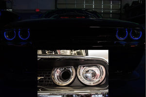 Dodge Challenger LED Lights - Blue Halo Rings Overlay (Front)