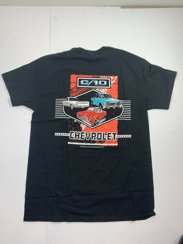 Chevrolet C10 T-Shirt - Black w/ Multiple Generations Pickup Trucks (Licensed) - 3