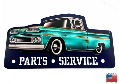Image of 1960 Chevy C10 Pickup Truck Parts & Service Metal Sign - Main