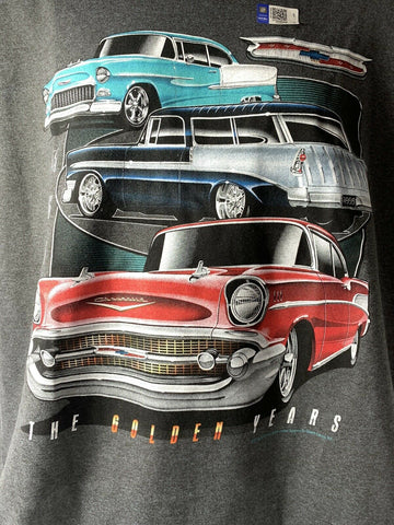 "Image of Chevrolet Tri-5 T-Shirt Gray w/ Bel Air, 210, 150 ""The Golden Years"" - 1"
