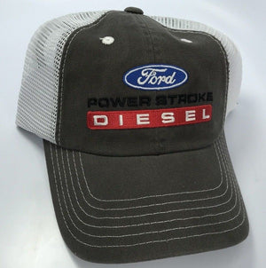 Ford Powerstroke Diesel Hat - Brown with White Mesh (Front)