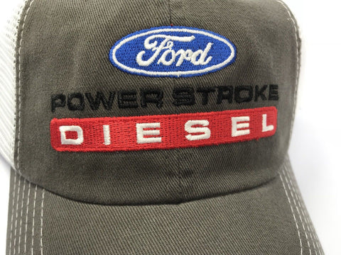 Ford Powerstroke Diesel Hat - Brown with White Mesh (Top)