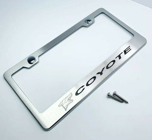 Ford Mustang 5.0 Coyote License Plate Frame w/ Black Carbon Fiber - Premium