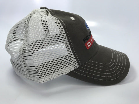 Ford Powerstroke Diesel Hat - Brown with White Mesh (Side)