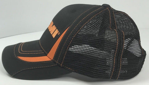 Image of Mopar Hat - Dodge Hemi Logo Black and Orange Mesh (Side)