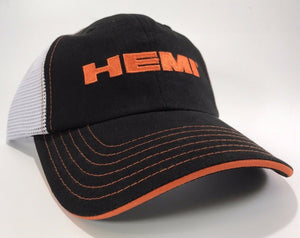 Mopar Hat - Hemi Script on Black with White Mesh (Front)