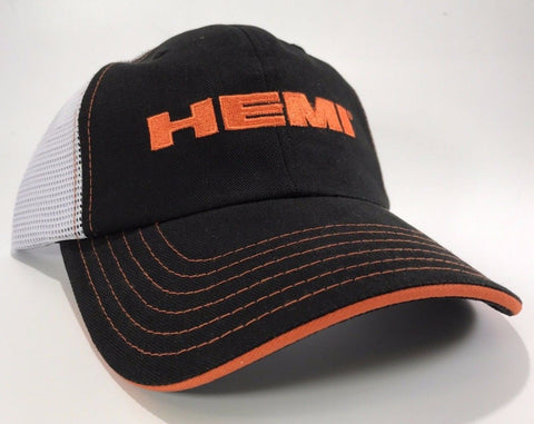 Image of  Mopar Hat - Hemi Script on Black with White Mesh (Front)
