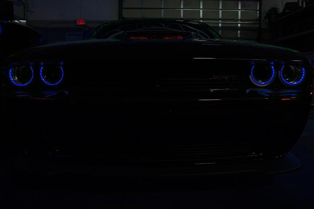 Dodge Challenger LED Lights - Blue Halo Rings Overlay (Top)