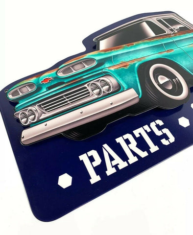 Image of 1960 Chevy C10 Pickup Truck Parts & Service Metal Sign - Last