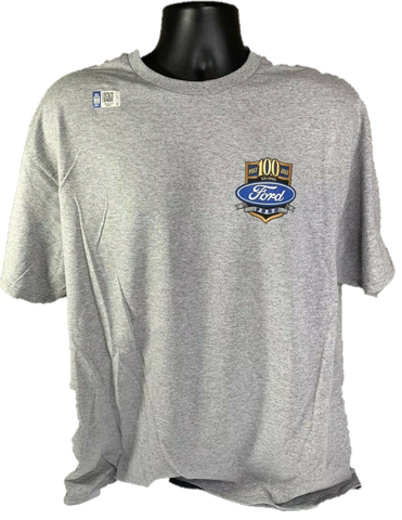 "Image of Ford Trucks T-Shirt - Gray With ""These Colors Run True"" American Flag 100 Anniversary Emblem"