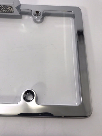 License Plate Frame with Light - Chrome (Side)