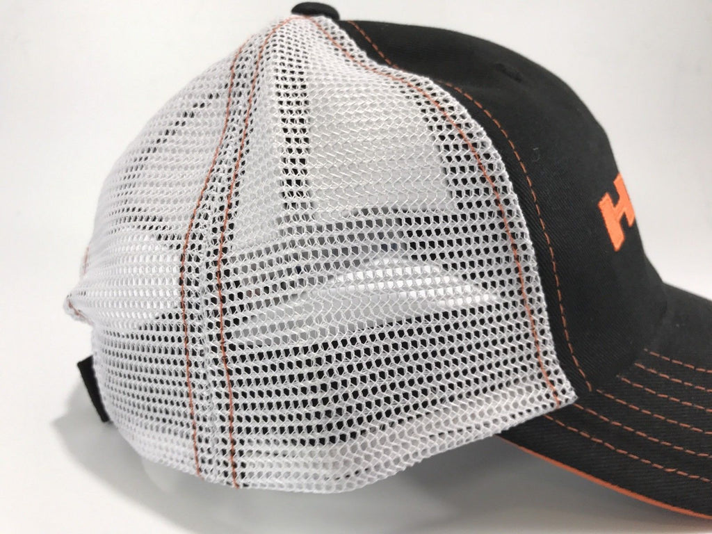Mopar Hat - Hemi Script on Black with White Mesh (Side)