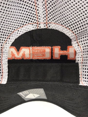 Mopar Hat - Hemi Script on Black with White Mesh (Back)