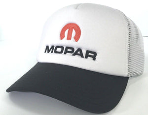 Mopar Hat - Padded White Trucker with Logo / Emblem (Front)