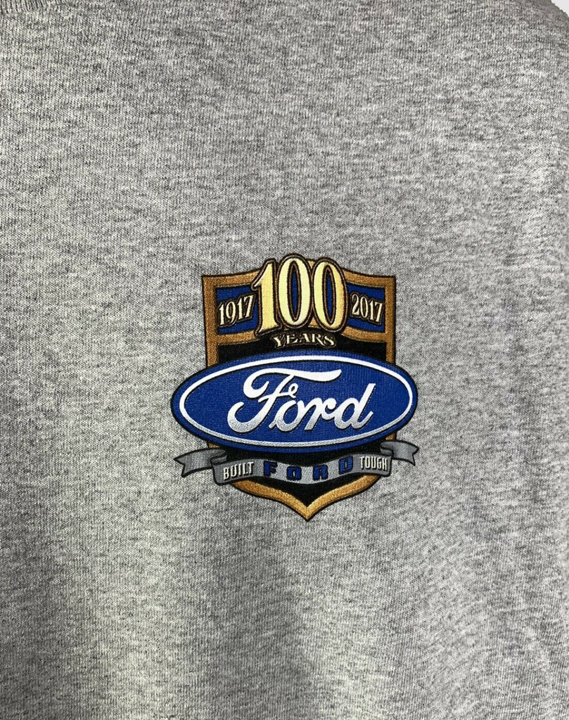 "Ford Trucks T-Shirt - Gray With ""These Colors Run True"" American Flag 100 Anniversary Emblem"