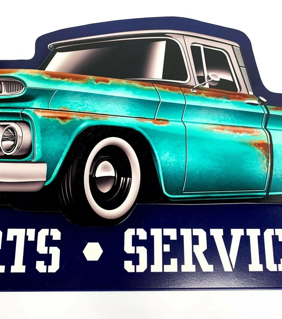 1960 Chevy C10 Pickup Truck Parts & Service Metal Sign - Front