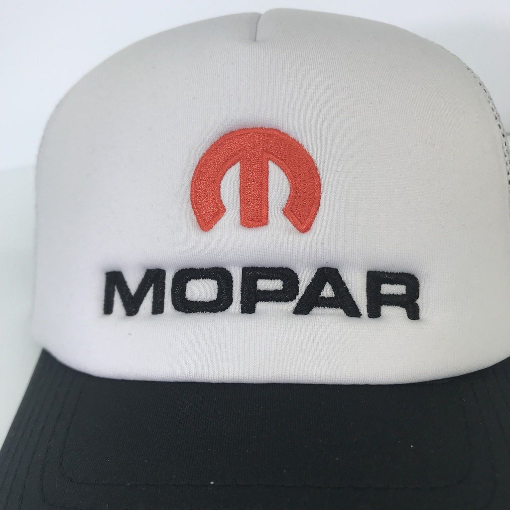 Mopar Hat - Padded White Trucker with Logo / Emblem (Top)