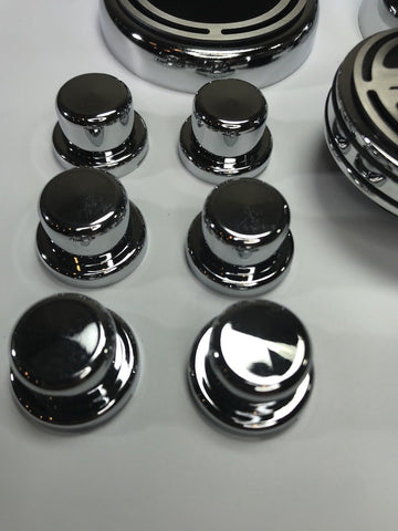 Image of 2008-2018 Hemi SRT Fluid & Shock Tower Cap Cover 11 Pc Set - Brushed Black w/ Chrome - Top Hats