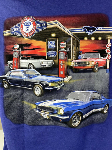Image of Ford Mustang T-Shirt - Blue w/ 1964-1968 Gas Station Scene - Picture