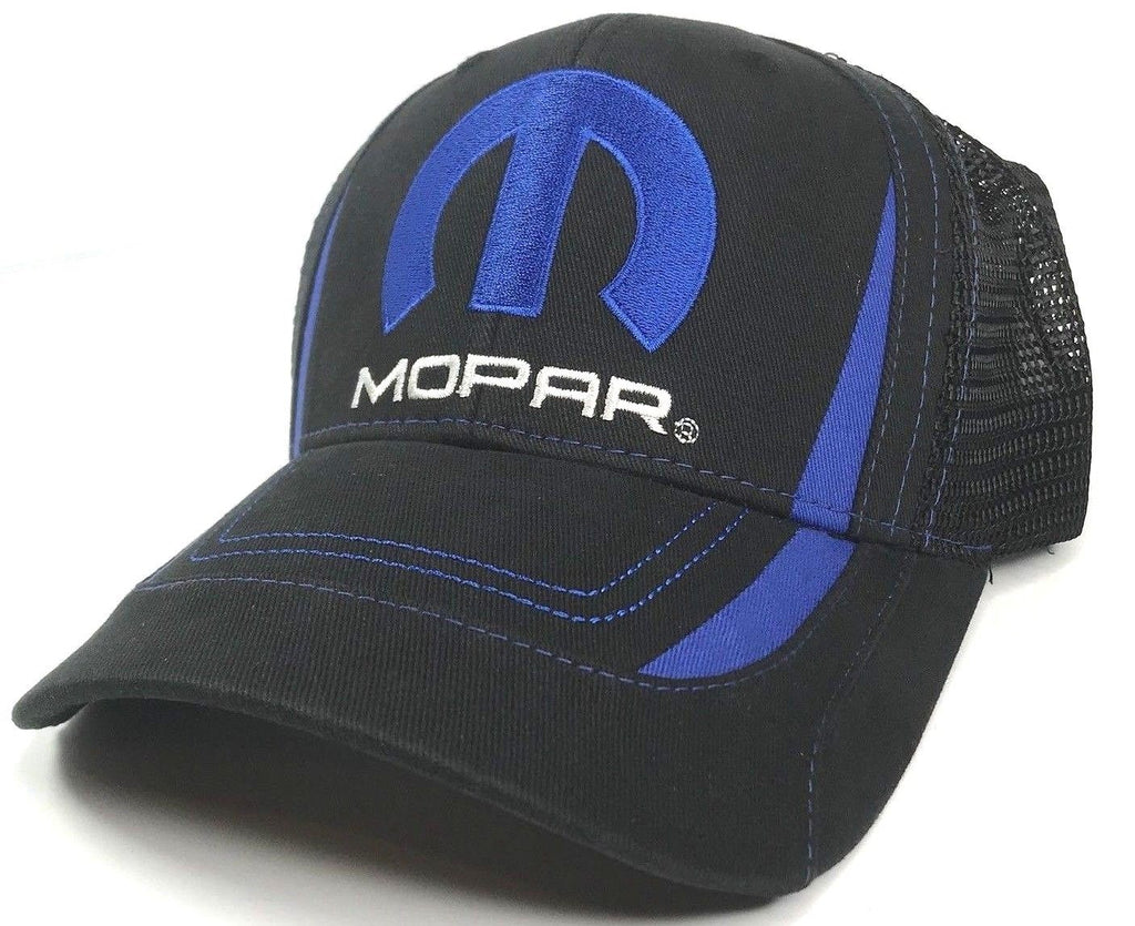 Mopar Hat - Black & Blue Trucker with Logo / Emblem (Front)