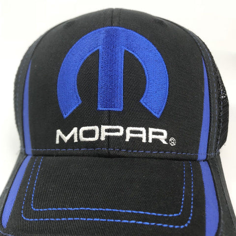 Image of Mopar Hat - Black & Blue Trucker with Logo / Emblem (Top)