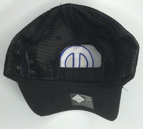 Image of Mopar Hat - Black & Blue Trucker with Logo / Emblem (Back)
