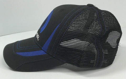 Image of Mopar Hat - Black & Blue Trucker with Logo / Emblem (Side)