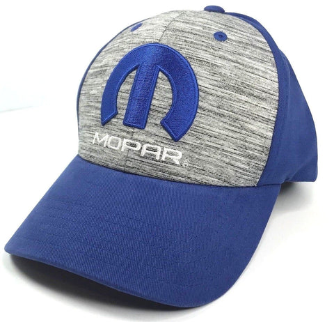 Image of Mopar Hat - Grey & Blue with M Emblem / Logo (Front)