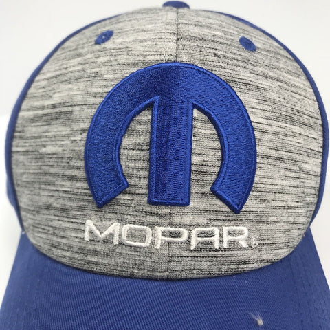 Image of Mopar Hat - Grey & Blue with M Emblem / Logo (Top)