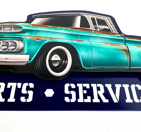 Image of 1960 Chevy C10 Pickup Truck Parts & Service Metal Sign - Side