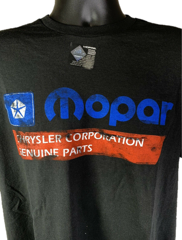 Mopar T-Shirt - Black w/ 1985-90 Chrysler Corporation Genuine Parts Logo / Emblem-Live Fast Supply Company