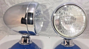 "Pair of Fog Lights - 12 Volt Bullet Style w/ 5"" Clear Lens & Chrome Teardrop Housing"