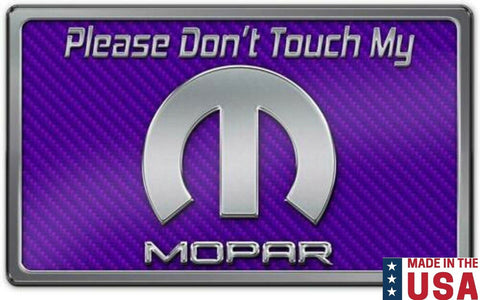"Dash Plaque Sign ""Please Don't Touch My Mopar"" - Purple Carbon Fiber-Live Fast Supply Company"