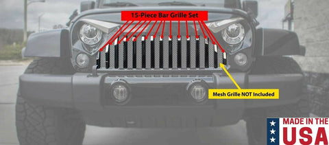 Image of Polished Stainless Grille Bars For 2007-2018 Jeep Wrangler JK w/ Gladiator Grille-Live Fast Supply Company