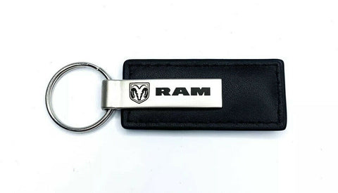 Image of Dodge Ram Emblem Black Leather Key Chain - Licensed - Logo