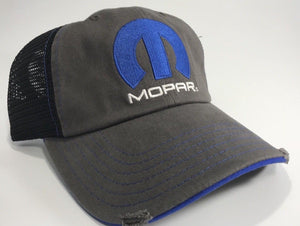 Mopar Hat - Distressed Bill with Logo / Emblem (Front)