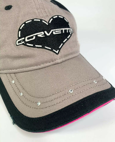 Image of Chevy Corvette Script Emblem Ladies Hat - Heart w/ Gems On Bill - Weathered Style-Live Fast Supply Company
