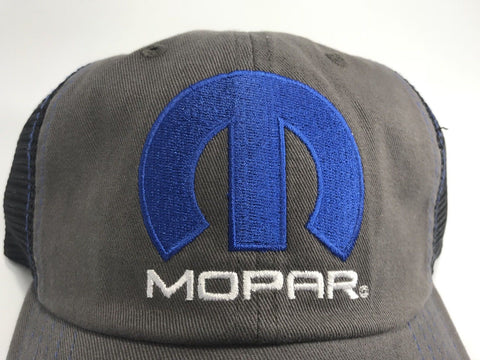 Image of Mopar Hat - Distressed Bill with Logo / Emblem (Top)